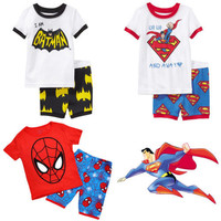 Summer Baby Toddler Kid Boy Spiderman Superman Batman Suit T-shirt Pants Outfits