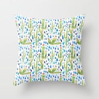 Watercolor Cactus with Raindrops Throw Pillow by Natalievmason | Society6