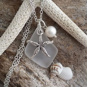 "Handmade in Hawaii, ""April Birthstone"" Crystal sea glass beach glass necklace, Starfish charm, Freshwater pearl, Sterling silver chain"