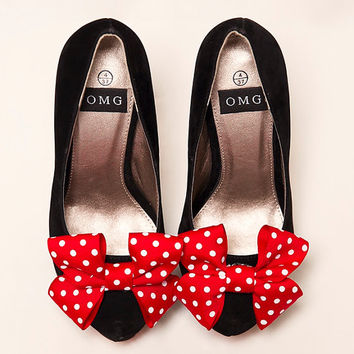 High Heel Shoes - Red And White Polka Dot Ribbon Design - Hand Painted Heels Customised by OMG SHOES