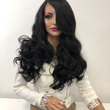 """Dark Brown Volume Curls Long Hair Multi Parting Lace Front Wig 18""""  Grace 01 19"""