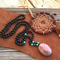 Bohemian Necklace with Black Ebony, Hipster Necklace, Tribal Jewelry, Mala Beads, Yoga Jewelry, Natural Jewelry