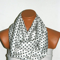 Mystical Black and Ecru polka dot Infinity Scarf Silky Chiffon Loop Infinity Scarves. Circle Scarf ,Womens Accessories.
