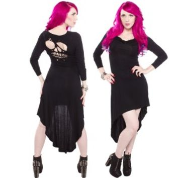 Skull Cut Out High Low Dress