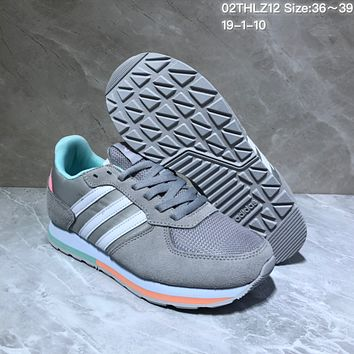 KUYOU A432 Adidas NEO 8K Suede Mesh Fashion Casual Running Shoes Gray Pink