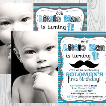 Lil' Man Mustache Photo Birthday Invitation