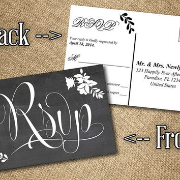 Chalkboard RSVP Postcard Word Template | Vintage Romance Chalkboard Response Card | Instant Download Wedding Printable | Shabby Chic Wedding