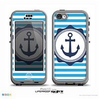 The Vector Navy Anchor with Blue Stripes Skin for the iPhone 5c nüüd LifeProof Case