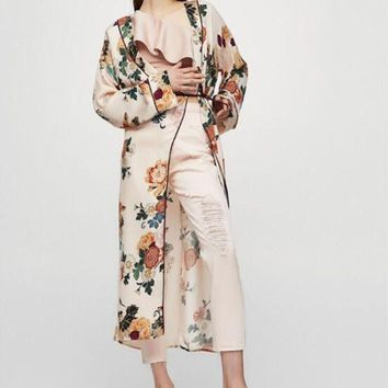 CREYLD1 2018 New Large floral Silk Satin Lady Robe Sexy Print Bathrobe Long Kimono Robe Women Fashion Dressing Gown Female