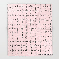 Drunk Polka Dot Grid Dance Throw Blanket by simplicity_of_live
