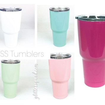 CLEARANCE Monogram 30oz  BOSS  Rambler / Tumbler /  Light Mint / Pale Pink / White / Light Teal