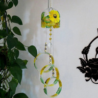 Large Vodka bottle wind chime, Yard art, Patio decor, Recycled vodka bottle, Yellow flowers,  Clear glass, Wind chime, Gift Idea, Sunflowers