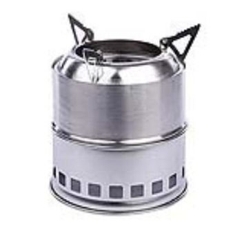 Stainless Steel Lightweight Wood Burning Camping Stove For Outdoor Cooking Picnic Barbecue Camping (silver)