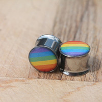 Rainbow Gay Pride Plugs Choose Your Size 0g - 1""