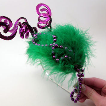 Streets of Mardi Gras Headband - Carnival Burlesque Headdress - Bourbon Street Costume headpiece - New Orleans - Wedding photo prop