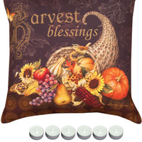 "Manual Woodworkers SLHVBL Harvest Blessing Fall Indoor Outdoor 18""x18"" Pillow with 6-Pack Tea Candles"