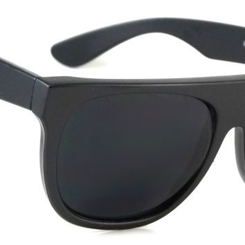 Cool Retro Flat Top Sunglasses Wesley Classic Men Women Black Frame Dark Lens