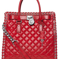 Michael Michael Kors Hamilton Quilted Leather Grommet Tote Bag