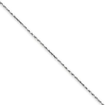 1.15mm, 14k White Gold, Diamond Cut Solid Rope Chain Necklace