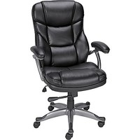 Staples Osgood Bonded Leather High-Back Manager\'s Chair, Black | Staples®