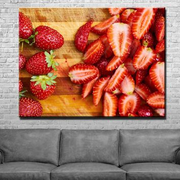 Strawberry Lovers Kitchen and Dining Room Wall Decor Canvas Set