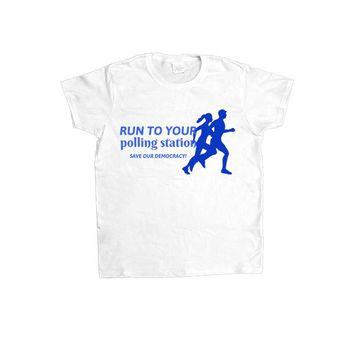 Run To Your Polling Station, Save Our Democracy -- Women's T-Shirt