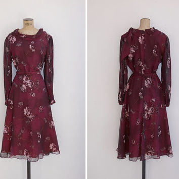 1970s Dress - Vintage 70s Maroon Floral Dress - Belle Dress