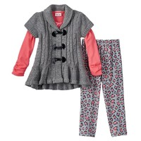 Little Lass Cheetah Cardigan Set - Girls 4-6x