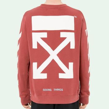 ac NOVQ2A OFF-WHITE autumn and winter new arrow striped crewneck sweater Red