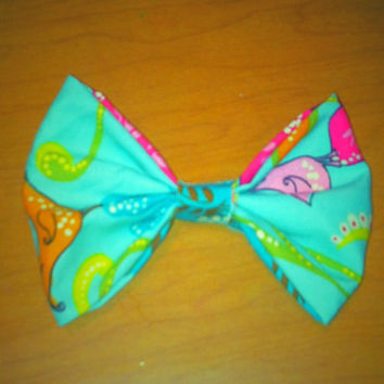 Large Hair Bow with blue bird fabric by ShortsNBowsNSuch on Etsy