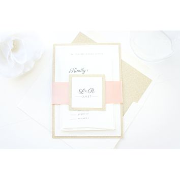 Peach and Gold Glitter Wedding Invitation, Blush Wedding Invitations - SAMPLE SET