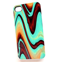 iPhone 4 / 4S Case  iPhone Cell Phone Cases Turquoise and Brown Swirl