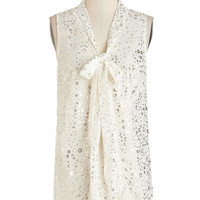ModCloth Mid-length Sleeveless South Florida Spree Top in Bubbly