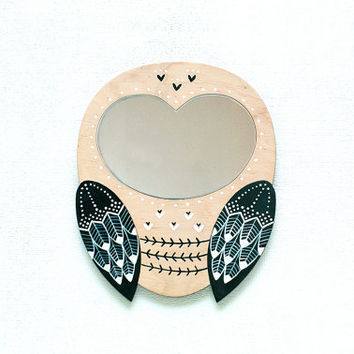 """Large Magic Owl /  Decorative mirror / Hand Painted  / Wall decor / Wood and acrylic mirror / Unique gift / 9""""x10"""""""