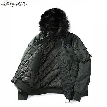 2017 AKing ACE Men's Warm Winter Military Jacket with Faux Fur Hood Men Army Style Parka Hooded Coat Jackets Hombre ZA307 45