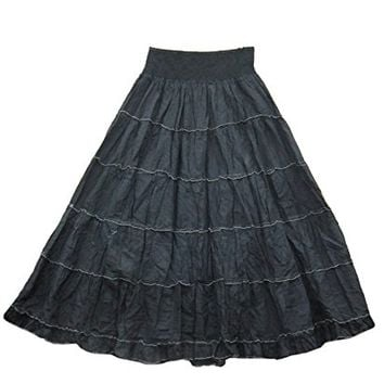 Womens Long Skirt Black Tiered Broomstick Bohemian A-line Cotton Gothic Skirts: Amazon.ca: Clothing & Accessories