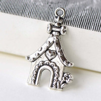 Antique Silver Heart Dog Pet House Charms 20x31mm Set of 10 A8233