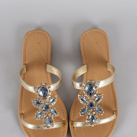 City Classified Jeweled Slip On Flat Sandal