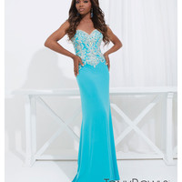 (PRE-ORDER) Tony Bowls 2014 Prom Dresses - Blue Rhinestone Strapless Sweetheart Jersey Gown