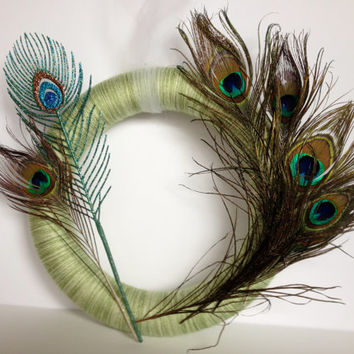 Variegated Green Yarn Wreath with Peacock Feathers and Sparkly Peacock Feather Pick - 12 inches