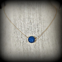 Something Blue Sapphire Crystal Pave Necklace Minimalist / Bridal Party Bridesmaid Flower Girl Wedding Jewelry / Prom  / Simple Sophication