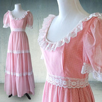 1970s Pink Maxi Prairie Dress in Swiss Dot and Lace Trim Original Tags
