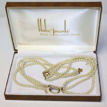 Hobe Pearl Necklace Vintage 1950 Jewelry With Box by patwatty