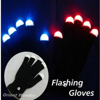 (2pcs/lot) LED Glow Gloves Rave Light Flashing Finger Lighting Mittens Magic Black gloves Party supplies halloween decoration