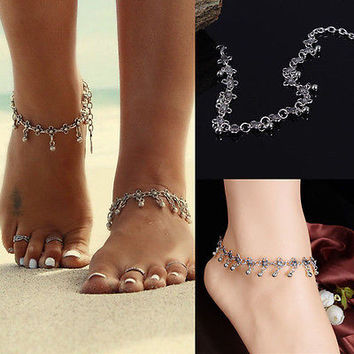 1X Antique Silver Flower Bell Anklet Ankle Bracelet Foot Chain Jewelry