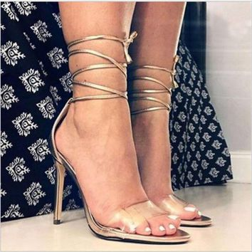 Fashion Champagne lace up strappy high-heels sandals shoes