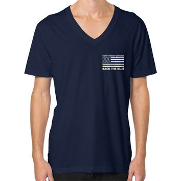 Back the Blue Police V-Neck (on man) shirt