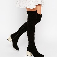 Public Desire Anita Black Metallic Heel Over The Knee Boot