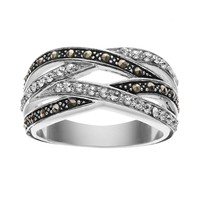 Silver Luxuries Marcasite & Crystal Silver-Plated Woven Ring (Grey)