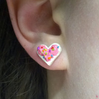 Heart Sugar Cookie Earrings, Round Frosted Cookies, Surgical Steel Posts, Polymer Clay Jewelry